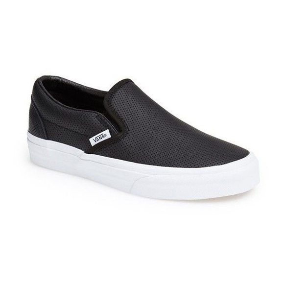 Vans perforated leather black slip ons. M 5c4a900a6a0bb7d4a3894c7a e7ebde16f8